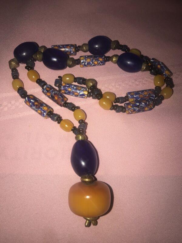"African Millefiore Butterscotch Amber Bakelite Glass Trade Bead Necklace 30"""