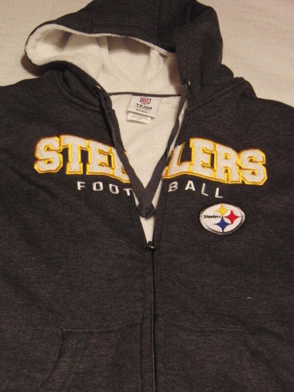 NFL Team Pittsburgh Steelers Gray Warm SweatShirt Hoodie Womens M -  L