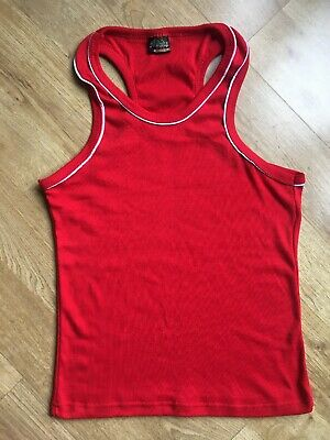 Used, Mumba Men's singlet sport muscle fit gym cotton red Size S for sale  Shipping to Nigeria