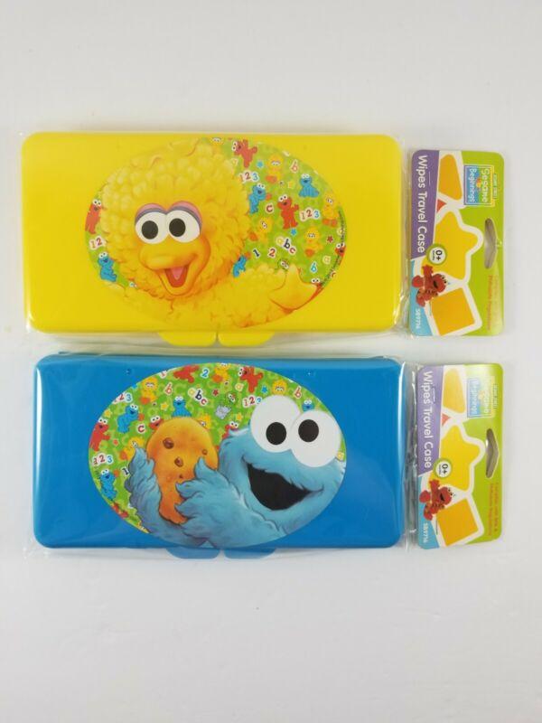 NEW Sesame Street Beginnings Cookie Monster & Big Bird Wipes Plastic Travel Case