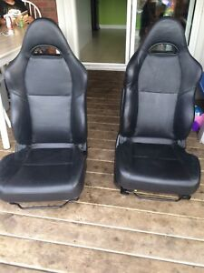 Black leather racing seats