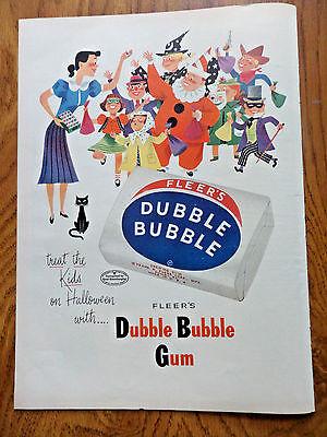 1953 Fleer Dubble Bubble Gum Ad Halloween 1953 7up Soda Pop Bottle Ad Popcorn