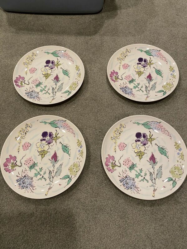 "Set of 4 Castleton French Garden China 10-3/4"" Dinner Plates Circa Mid-Century"