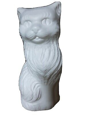 """Blow Mold Halloween WhiteCat Bank Decoration Union Products 11"""""""