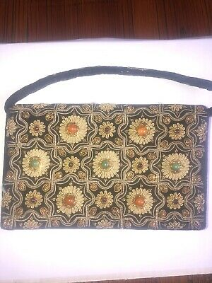 Vintage Embroidered & Embellished Velvet Ladies Evening Bag / Clutch