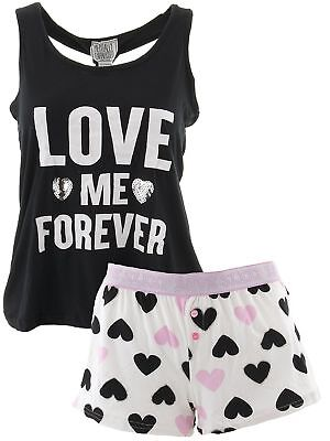 Mentally Exhausted Juniors Love Me Forever Black Short Pajamas - Pj & Me