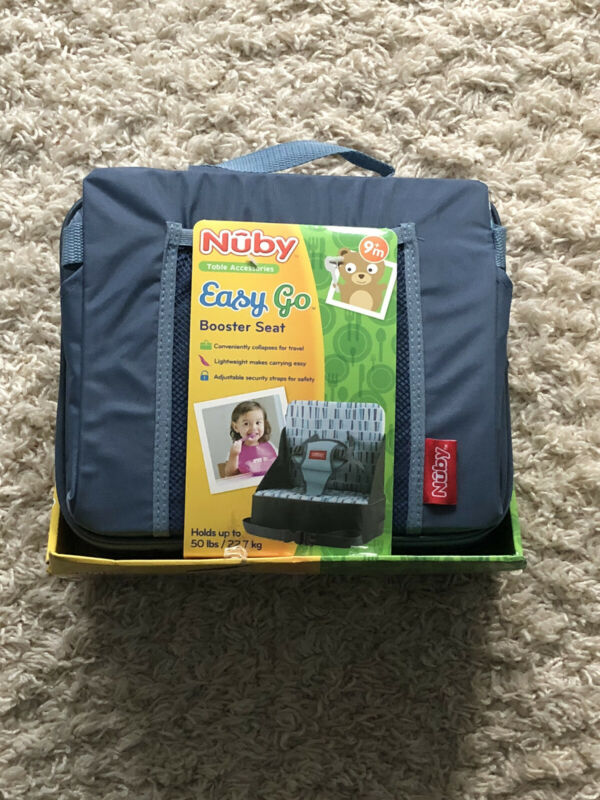 Nuby Easy Go Booster Seat Collapsible 9+ Months Holds 50 Lbs Gray Blue Portable