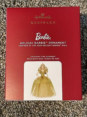 2020 Holiday Barbie Doll Gold Dress HALLMARK CHRISTMAS ORNAMENT NIB