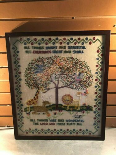 Vintage Professionally Framed Cross Stitch Sampler