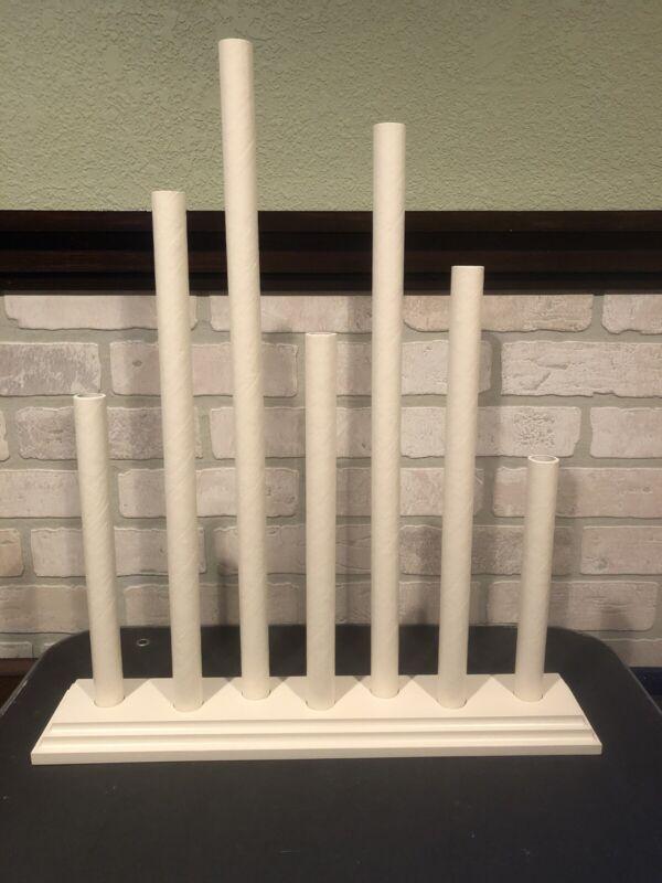 Vintage Noma Style C7 Staggered 7 Candle Window Candolier Candelabra Ivory