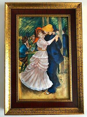 cuadro con marco dorado con esmalte pareja bailando escena parisina