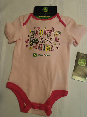 Baby John Deere Girls Size 6 or 9 Month Pink Set Bodysuit Camo socks NWT