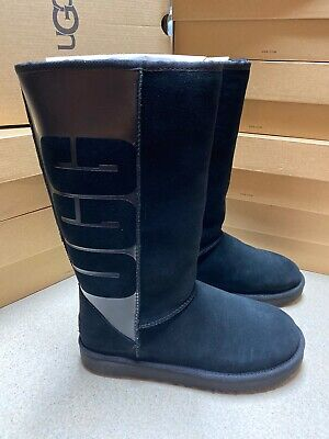 UGG Australia Classic Tall Rubber Black Big Logo Women's Boots 1096471 Size 10 Big And Tall Boots