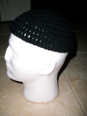 Adult Men's Handmade Skull Cap Kufi Beanie Hat - BLACK -Crochet Beanie - Black Beanie Cap Hat