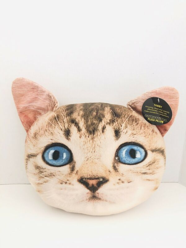 """Expressions Plush Decorative Tabby Cat 12"""" Pillow NWT!"""