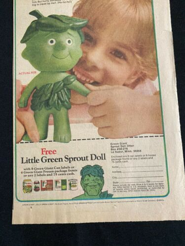 #23 JOLLY GREEN GIANT LITTLE SPROUT DOLL Sunday Comic Strip Ad October 21, 1973