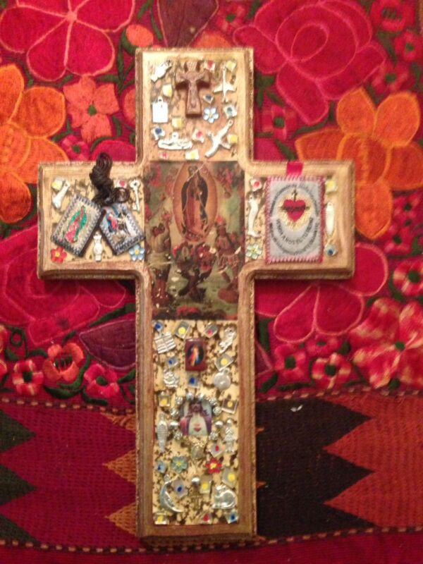 Mexican Collage Milagro and Wood Cross, Religious, Mexico Amulet, Rosary