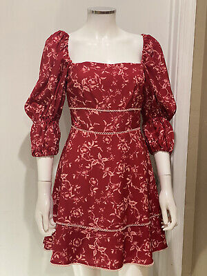 Keepsake The Label Floral Red Night Out dress women Size Small S New With Tags