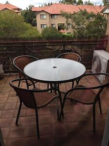 Round glass outdoor dining setting - 4p Engadine Sutherland Area Preview
