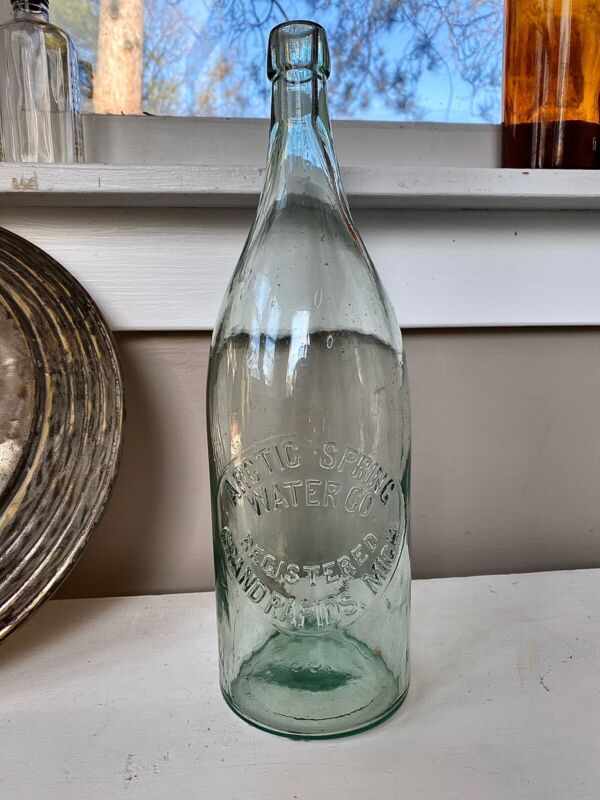 Antique 1890s Arctic Spring Water Co Grand Rapids, MI 1/2 Gallon Blob Top Bottle