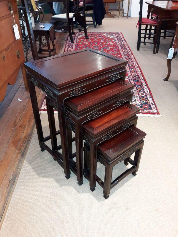 Chinese Antique Style Hardwood Nesting Tables