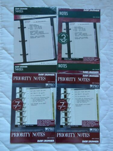 "Lot 4 Day Runner Refill Priority Notes Subject Notes 5.5""x8.5"""
