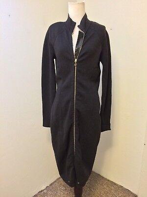Gianfranco Ferre Vintage 90s Wool Knit Leather Trim Bodycon Midi Dress Gray S-M