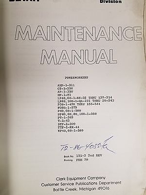 Clark Forklift Powerworkers Maintenance Manual See Pictures
