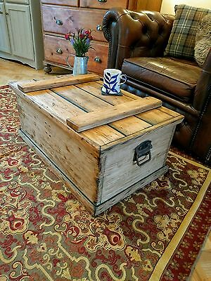 Antique Pine Chest / Vintage Coffee Table / Trunk / Box / WW2