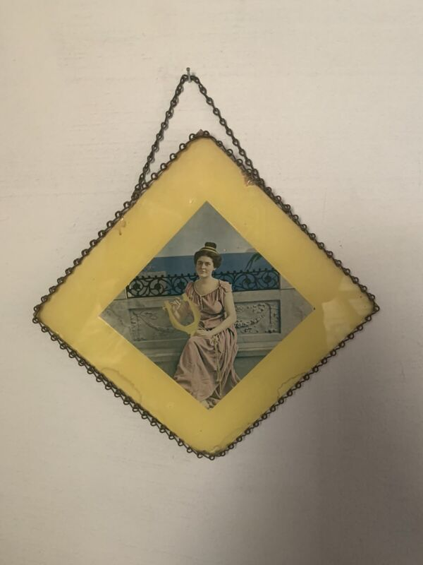 Antique Glass Front Flue Cover Art Deco Style Girl With Lute Chain Frame