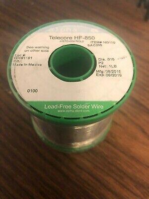 Alpha No Clean Lead Free Wire Solder .015 Sac305 160150 - 1 Lb Telecore Hf-850