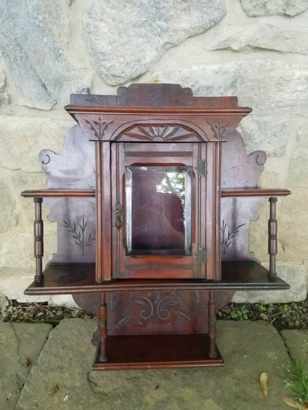 Numbered Victorian era Eastlake? Wood Wall Medicine Cabinet w Beveled Glass