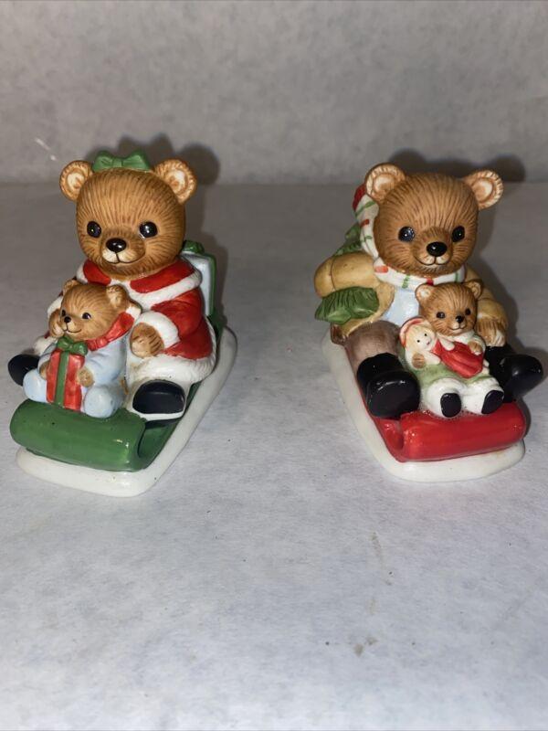 HOMCO Christmas Bears #5102 Porcelain Figurines Set of 2 With Box