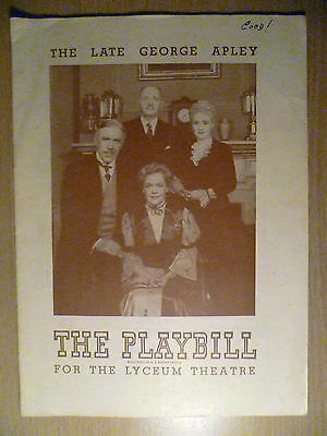 1945 PlayBill Lyceum Theatre Programme: THE LATE GEORGE APLEY, 5th August