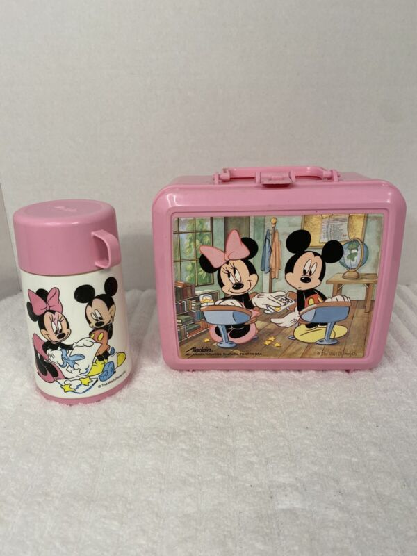 Pink 90's Mickey and Minnie Mouse School Room Aladdin Lunchbox With Thermos
