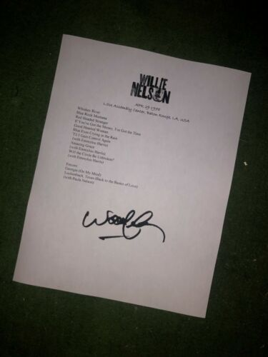 Willie Nelson signed setlist Reproduction 1978 Tour