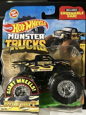 Hot Wheels Monster Trucks Giant Wheels 2020 Blue BigFoot With Flames 1:64 scale