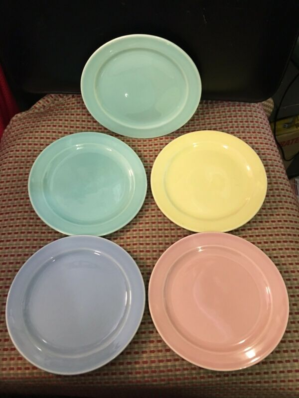 LURAY VINTAGE PASTEL BREAD PLATES LOT OF 5