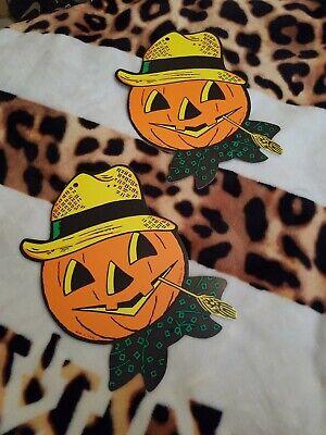 2 Vintage Beistle Co. embossed die cut  Halloween pumpkin cardboard decorations