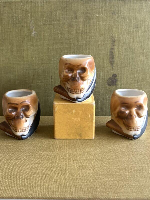Vintage Halloween grim reaper skeleton skull sake cups made in Japan 1940