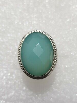 Chunky Natural Chalcedony Stone Ring 925 Solid Sterling Silver 925 Size T~T1/2