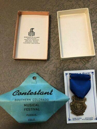 Vintage 1950s Colorado Music Educators Assoc Band Festival Medal Dieges Clust