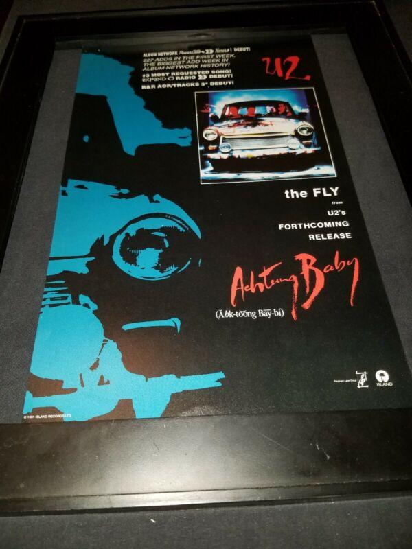 U2 The Fly Rare Original Radio Promo Poster Ad Framed! #2