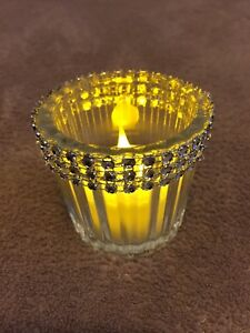 Jewelled votive holders and set of 8 led candle lights