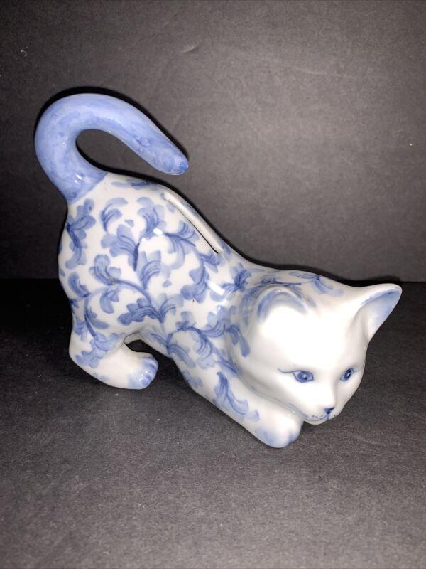 Vintage Cat Coin Bank Playful Porcelain Kitten Andrea by Sadek