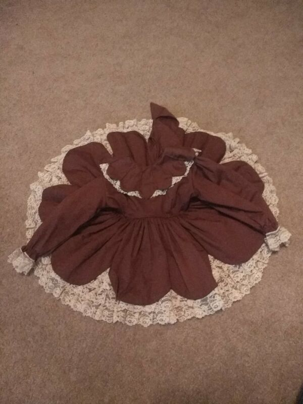 Vintage Mary Louise Ruffle Dress Full Circle Lace Brown USA Fall Party Birthday