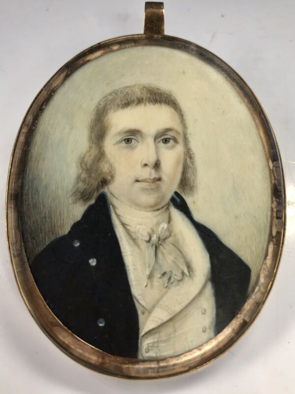 Antique 18th Century Oval Gold Frame Fine Miniature Portrait With Hair Loom