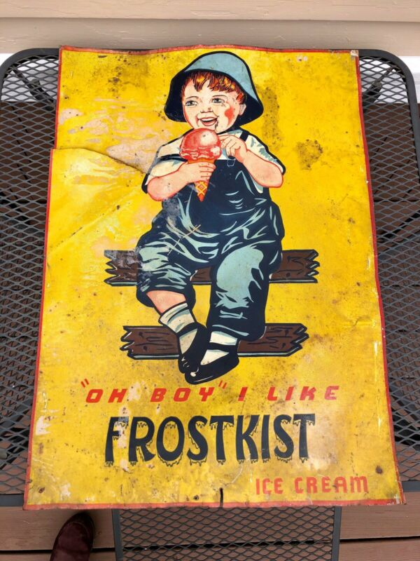 "Antique Frostkist Tin Ice Cream Trade Sign, Barn Salvage, Advertising 28"""