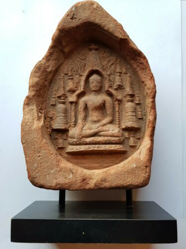 Antique terra cotta votive tablet Bagan Burma Myanmar 11th century