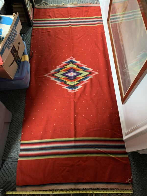 Antique Vintage Mexican Saltillo Wool Blanket Rug Cedar Chest Find2